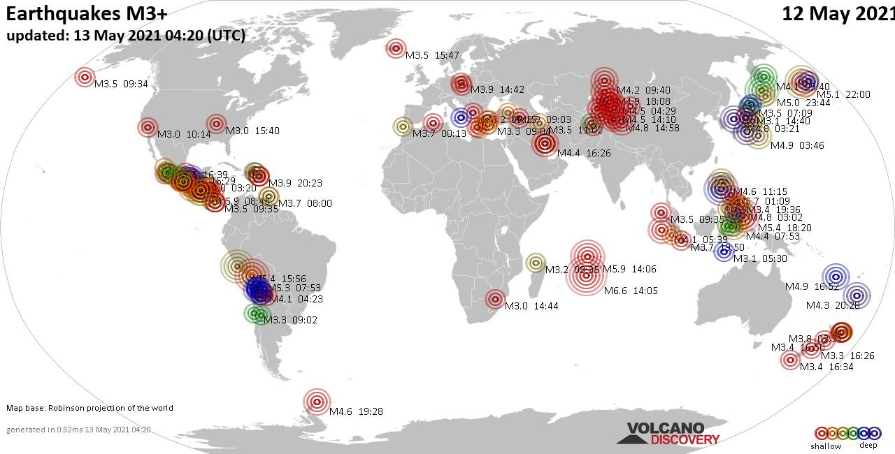 Worldwide earthquakes above magnitude 3 during the past 24 hours on 12 May 2021