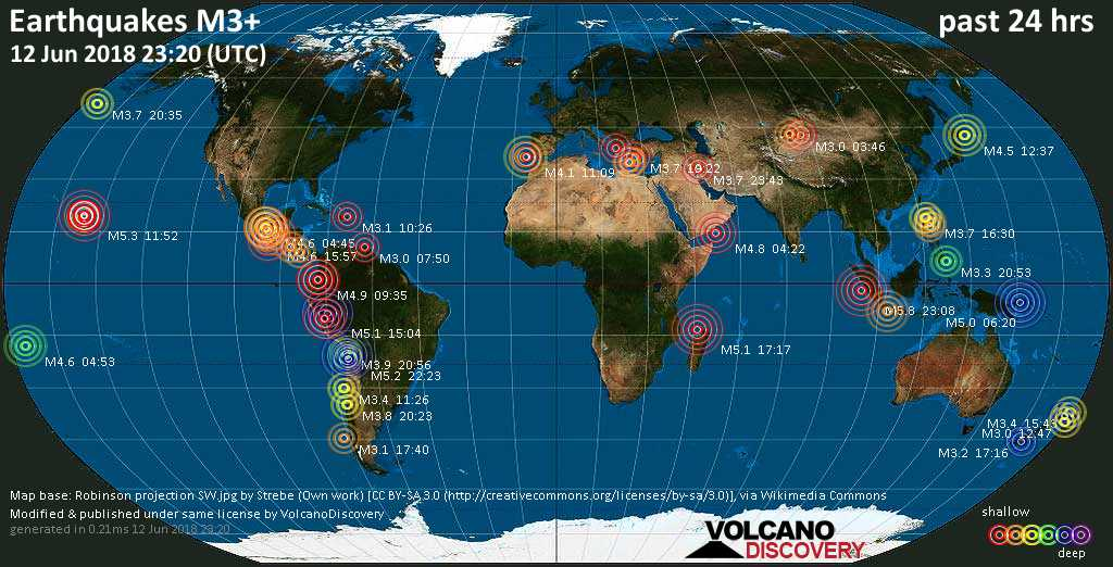 World map showing earthquakes above magnitude 3 during the past 24 hours on 12 Jun 2018