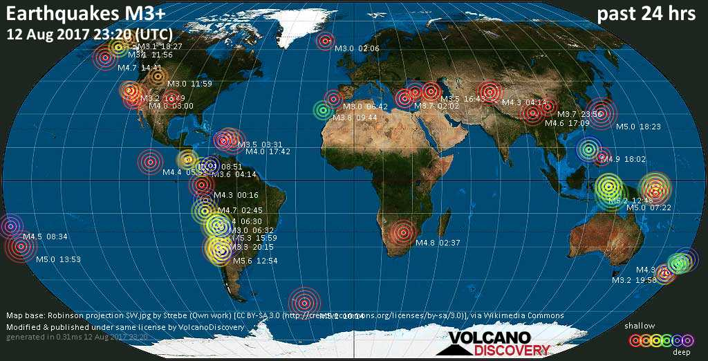 World map showing earthquakes above magnitude 3 during the past 24 hours on 12 Aug 2017