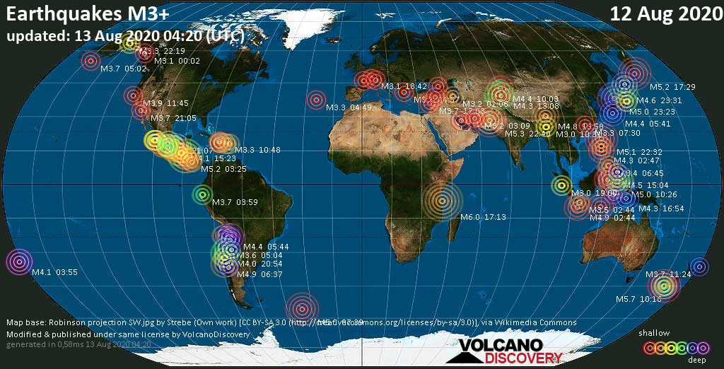 Worldwide earthquakes above magnitude 3 during the past 24 hours on 13 Aug 2020
