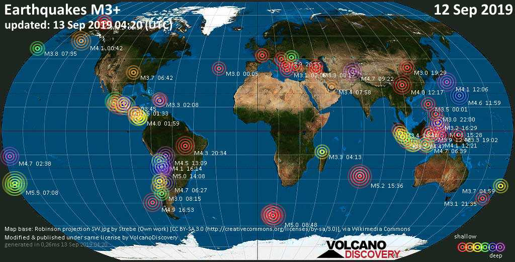 World map showing earthquakes above magnitude 3 during the past 24 hours on 13 Sep 2019