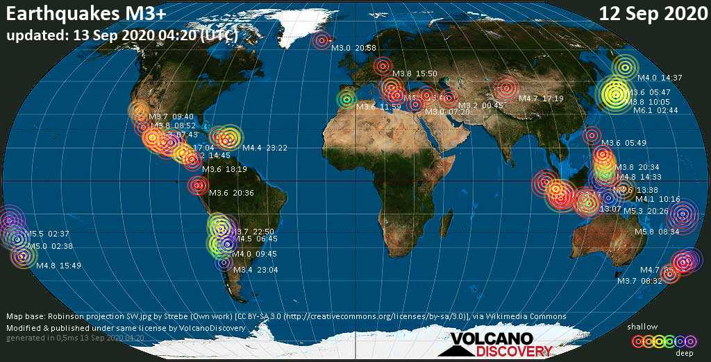 Worldwide earthquakes above magnitude 3 during the past 24 hours on 13 Sep 2020