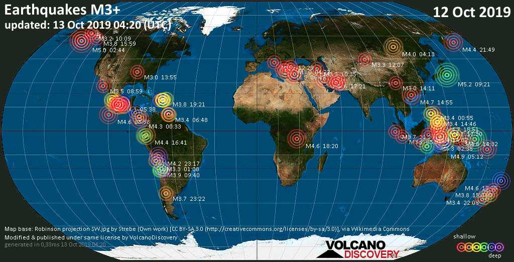 World map showing earthquakes above magnitude 3 during the past 24 hours on 13 Oct 2019
