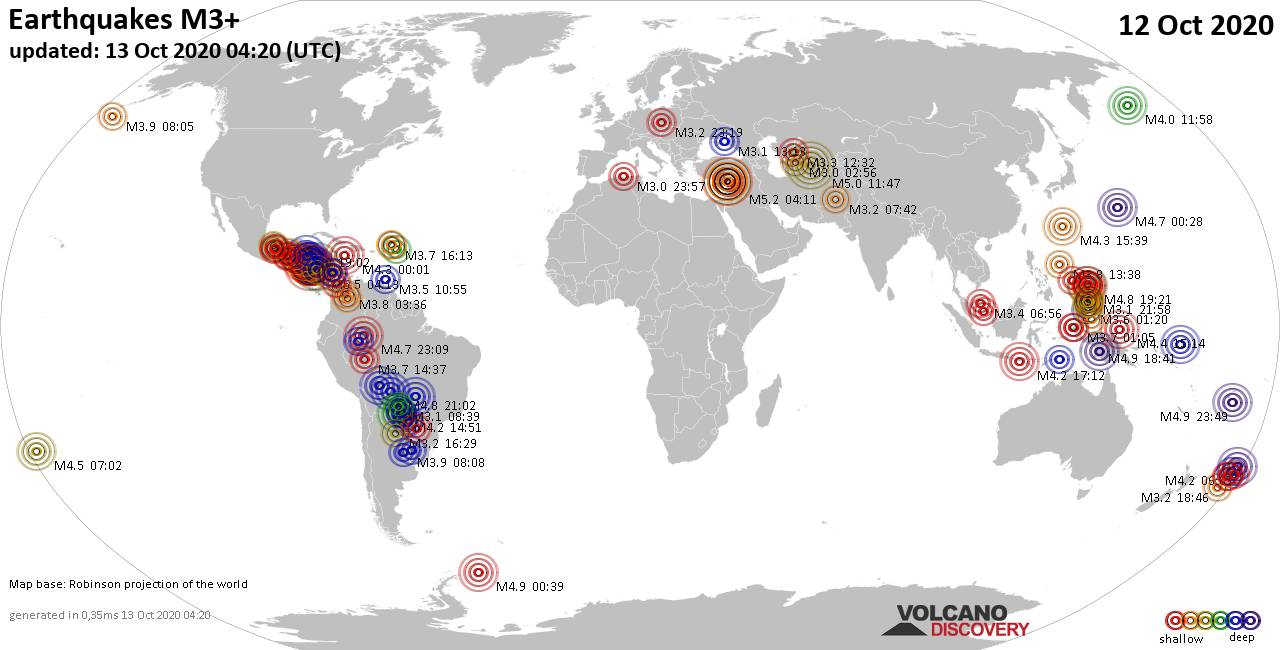 Worldwide earthquakes above magnitude 3 during the past 24 hours on 13 Oct 2020