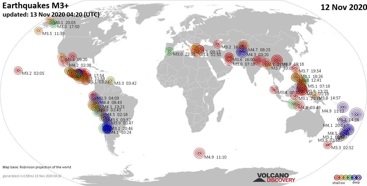 Mappa del mondo che mostra i terremoti sopra la magnitudo 3 nelle ultime 24 ore il 13 noviembre 2020