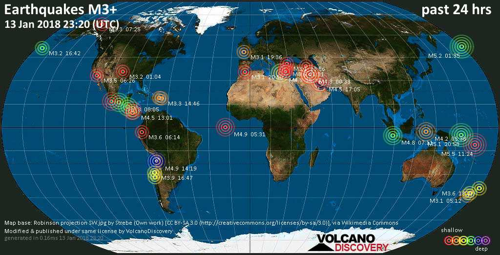 World map showing earthquakes above magnitude 3 during the past 24 hours on 13 Jan 2018