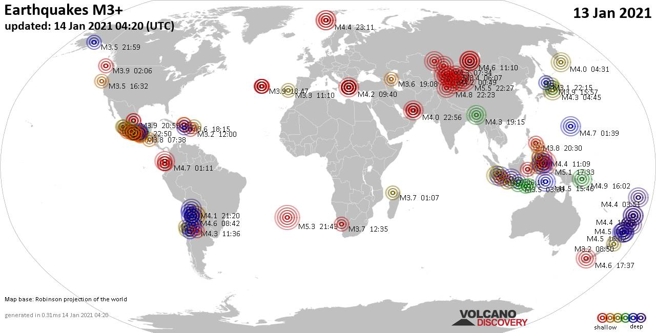 Worldwide earthquakes above magnitude 3 during the past 24 hours on 14 Jan 2021