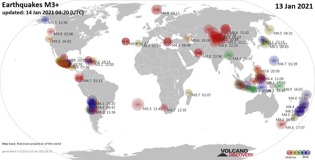 Weltkarte mit Erdbeben über Magnitude 3 während den letzten 24 Stunden past 24 hours am 14. Januar 2021