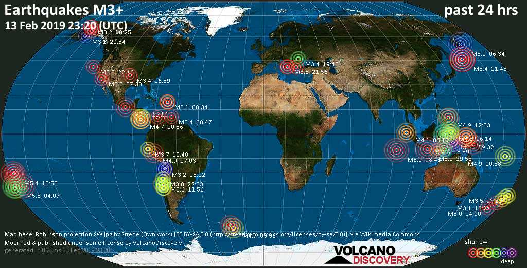 World map showing earthquakes above magnitude 3 during the past 24 hours on 13 Feb 2019