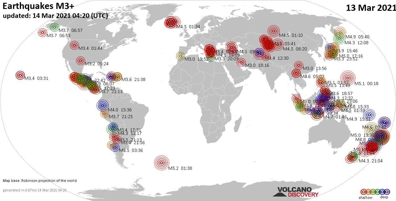 Mapa mundial que muestra terremotos de magnitud 3 en las últimas 24 horas 14 marzo 2021
