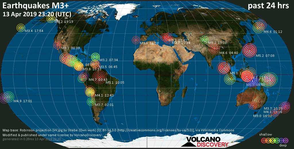 World map showing earthquakes above magnitude 3 during the past 24 hours on 13 Apr 2019