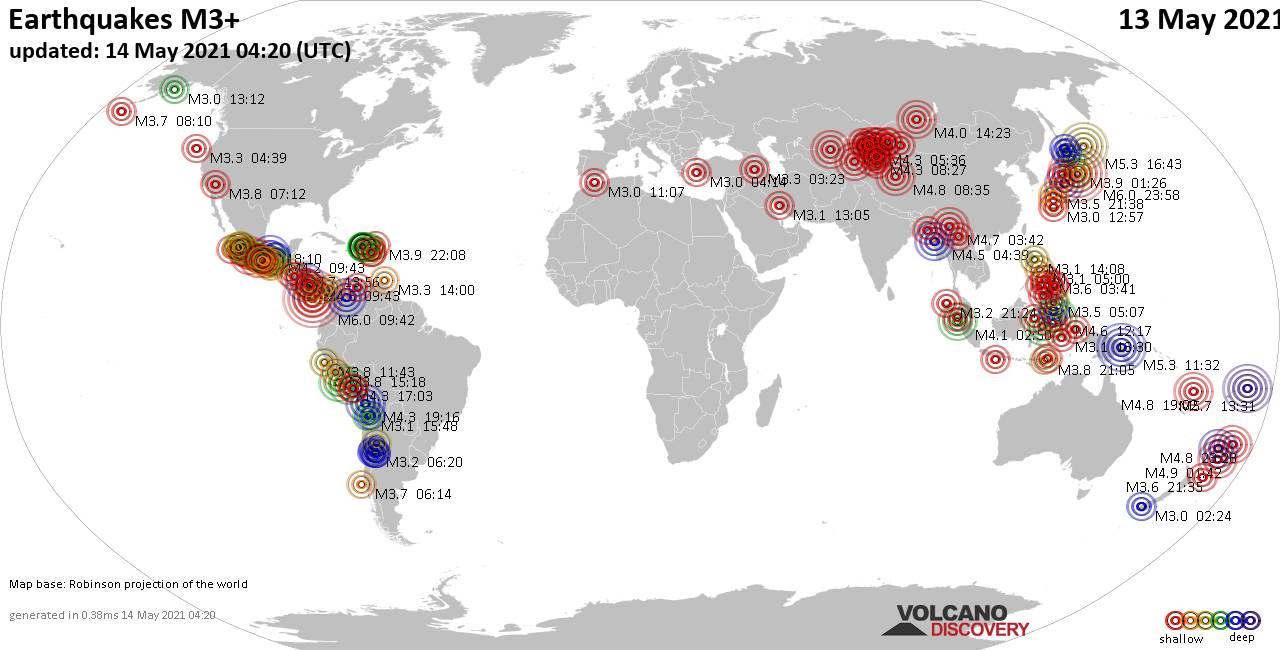 Weltkarte mit Erdbeben über Magnitude 3 während den letzten 24 Stunden past 24 hours am 14. Mai 2021