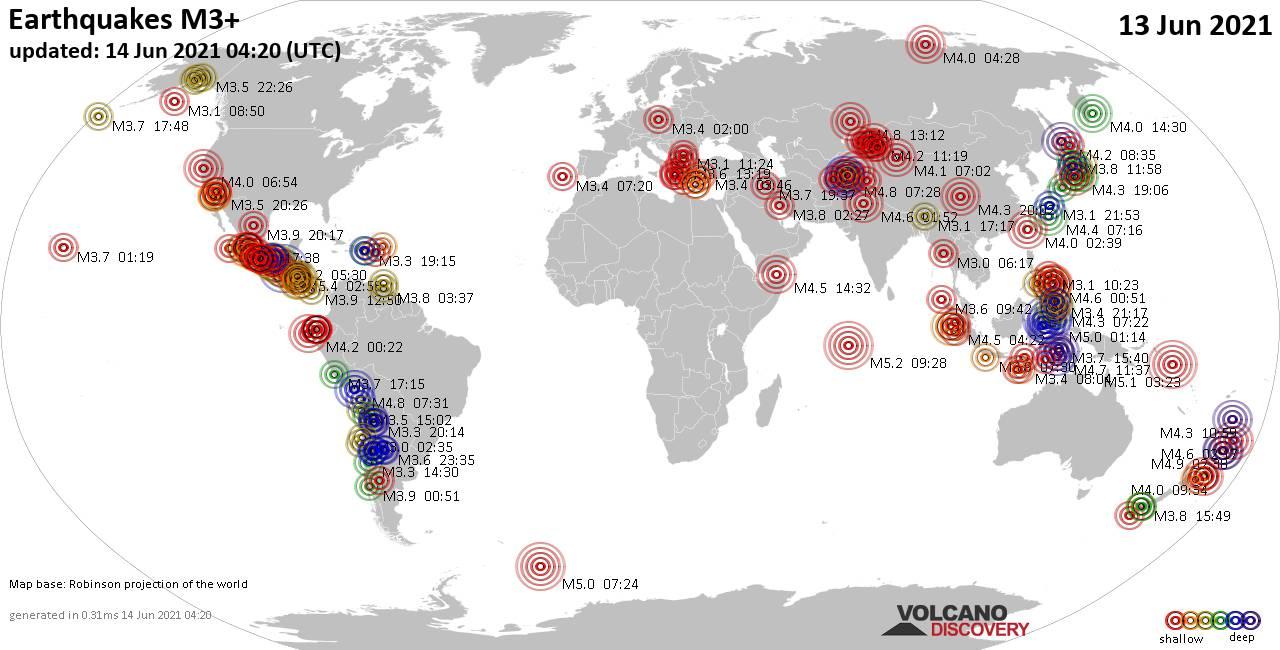 Weltkarte mit Erdbeben über Magnitude 3 während den letzten 24 Stunden past 24 hours am 13. Juni 2021