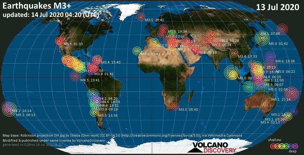 World map showing earthquakes above magnitude 3 during the past 24 hours on 14 Jul 2020