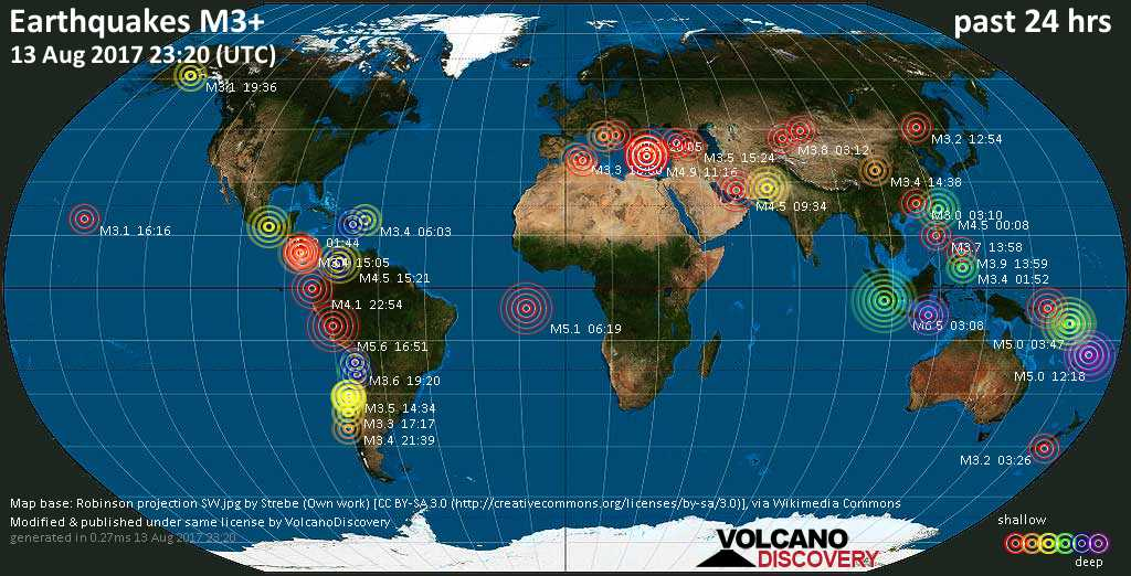 World map showing earthquakes above magnitude 3 during the past 24 hours on 13 Aug 2017