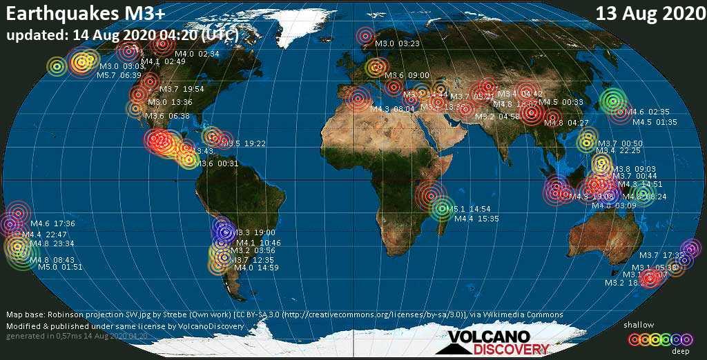 Weltkarte mit Erdbeben über Magnitude 3 während den letzten 24 Stunden past 24 hours am 14. August 2020