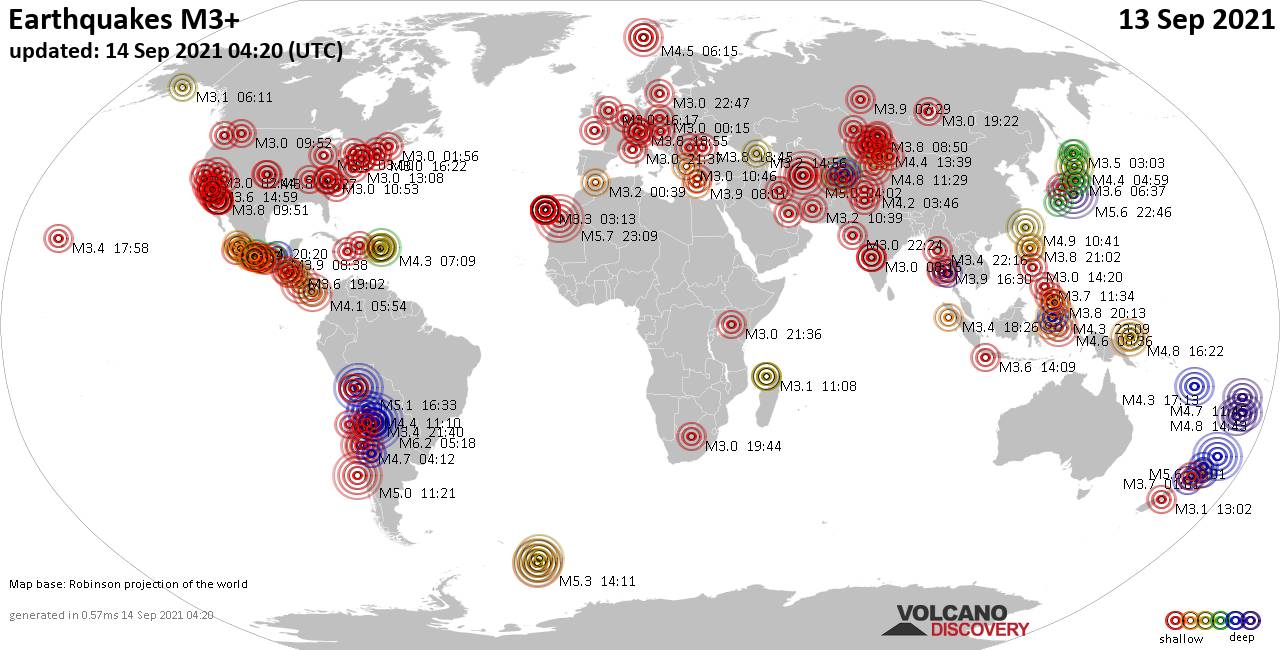 Worldwide earthquakes above magnitude 3 during the past 24 hours on 14 Sep 2021
