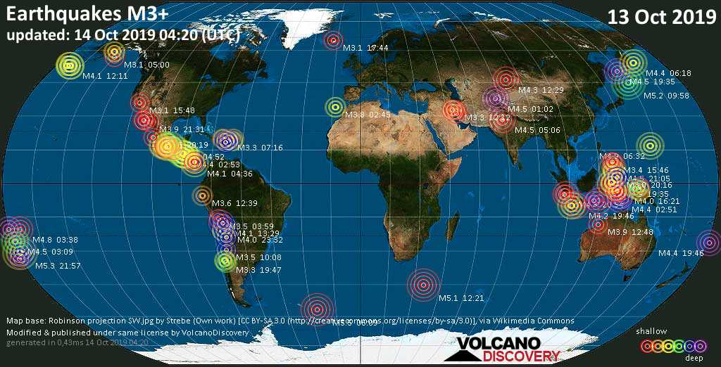 World map showing earthquakes above magnitude 3 during the past 24 hours on 14 Oct 2019
