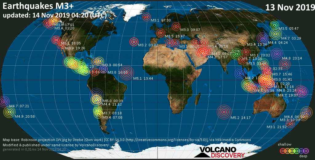 World map showing earthquakes above magnitude 3 during the past 24 hours on 14 Nov 2019