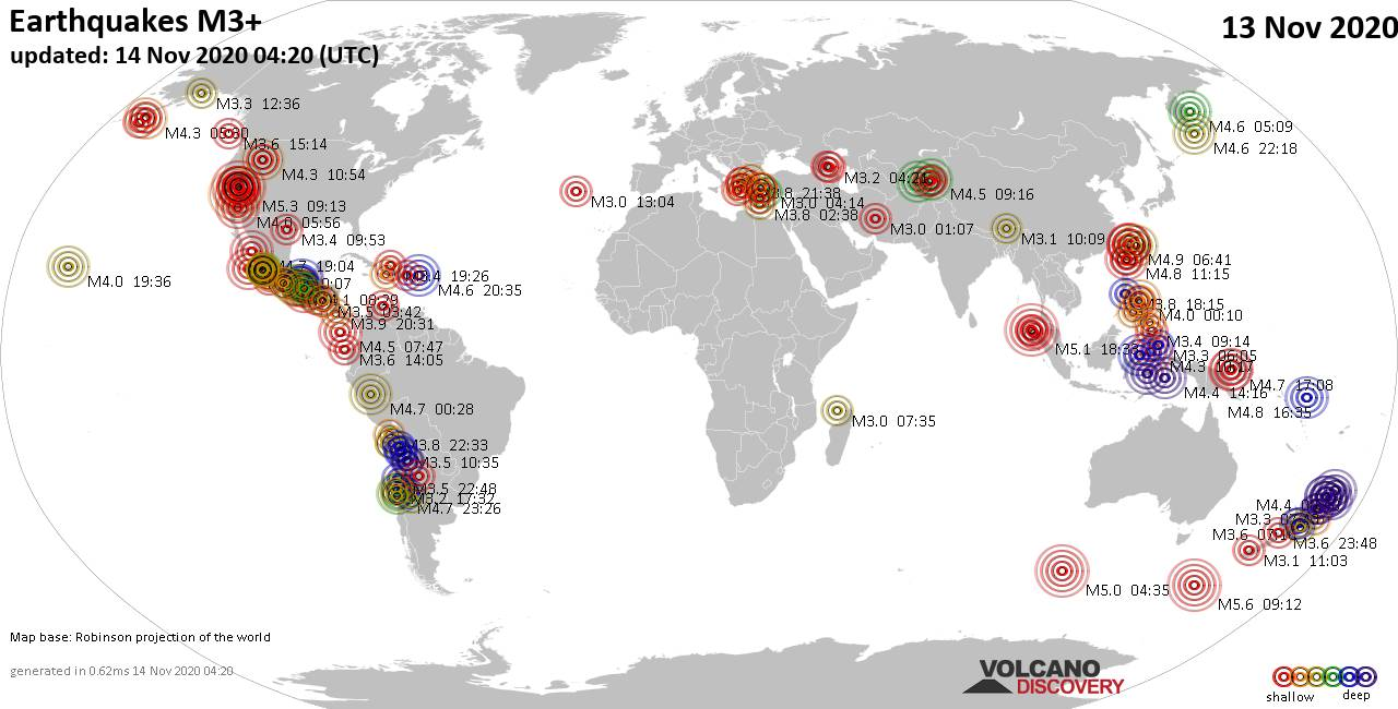 Worldwide earthquakes above magnitude 3 during the past 24 hours on 14 Nov 2020