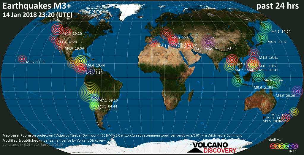 World map showing earthquakes above magnitude 3 during the past 24 hours on 14 Jan 2018