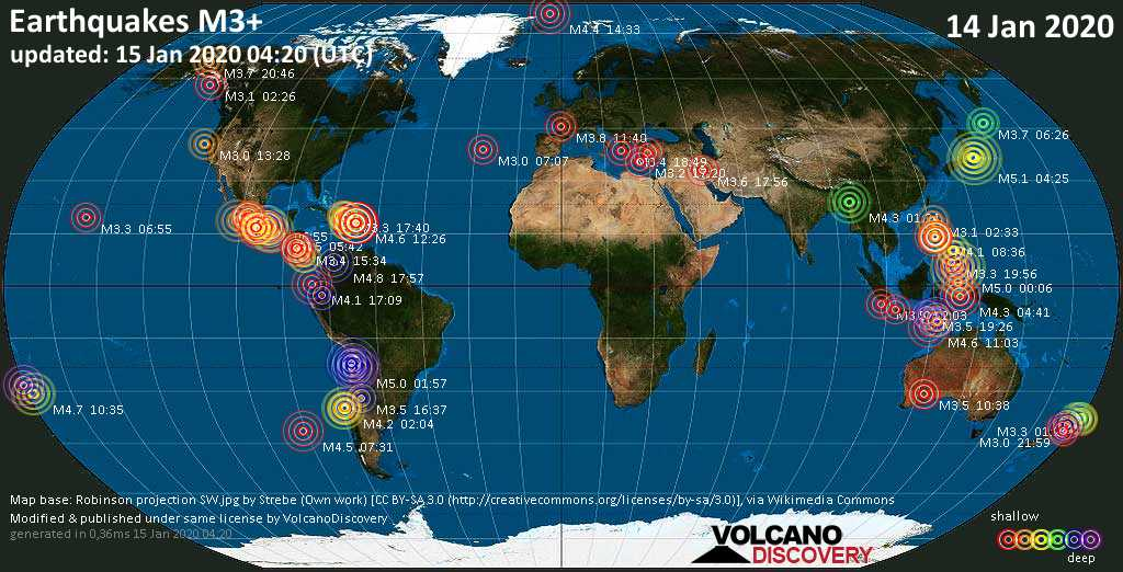 World map showing earthquakes above magnitude 3 during the past 24 hours on 15 Jan 2020