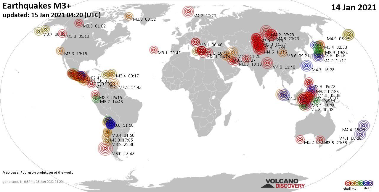 Weltkarte mit Erdbeben über Magnitude 3 während den letzten 24 Stunden past 24 hours am 15. Januar 2021