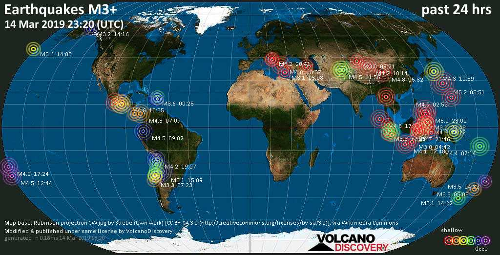 World map showing earthquakes above magnitude 3 during the past 24 hours on 14 Mar 2019