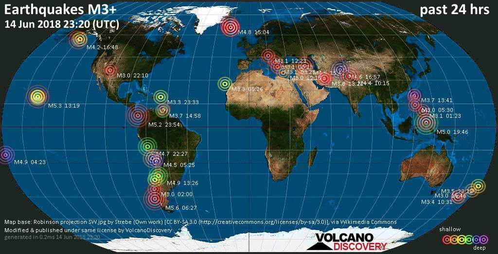 World map showing earthquakes above magnitude 3 during the past 24 hours on 14 Jun 2018