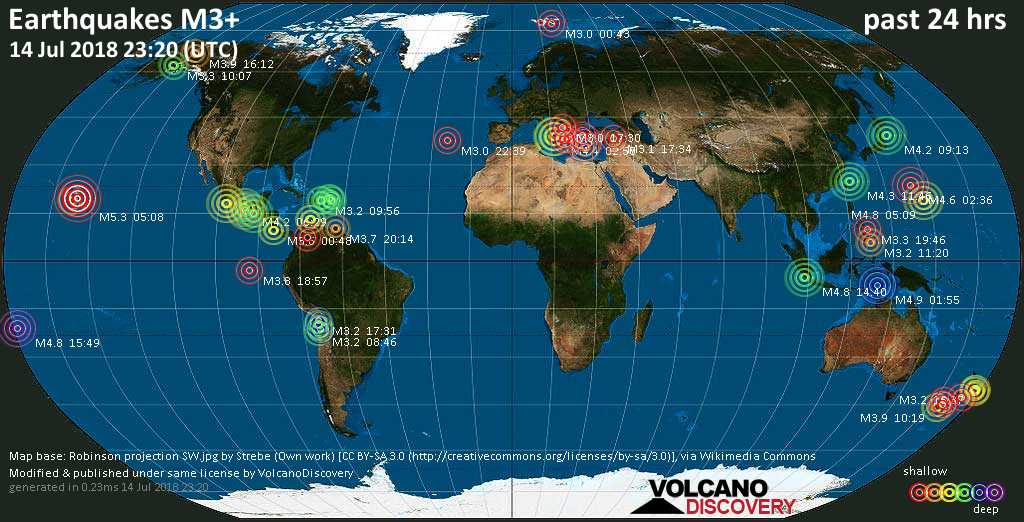World map showing earthquakes above magnitude 3 during the past 24 hours on 14 Jul 2018