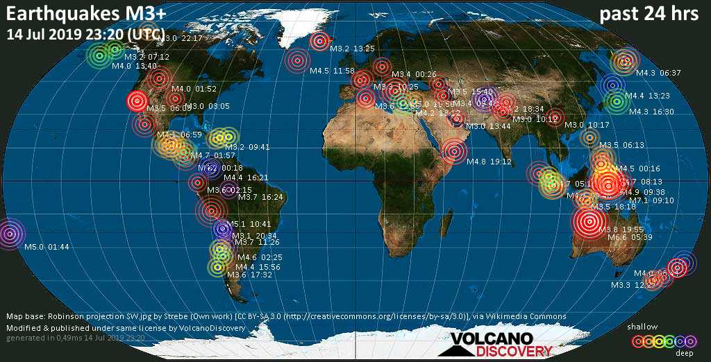 World map showing earthquakes above magnitude 3 during the past 24 hours on 14 Jul 2019