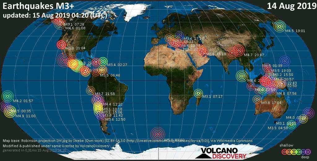 World map showing earthquakes above magnitude 3 during the past 24 hours on 15 Aug 2019