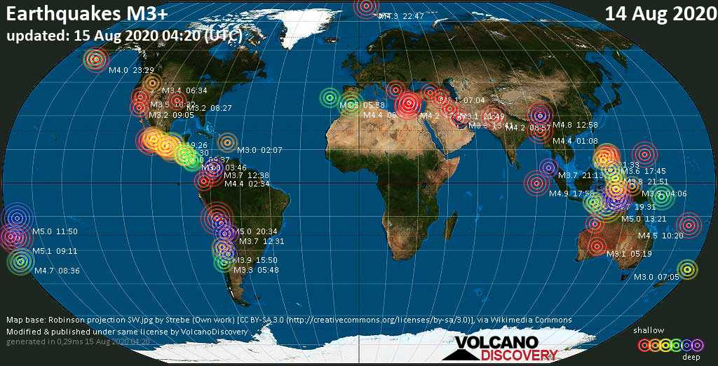 Worldwide earthquakes above magnitude 3 during the past 24 hours on 14 Aug 2020