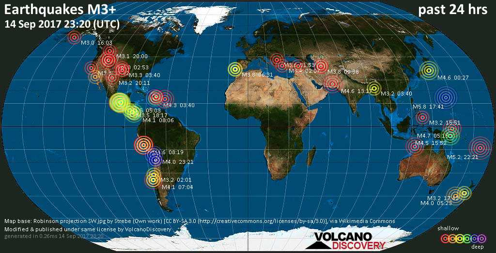 World map showing earthquakes above magnitude 3 during the past 24 hours on 14 Sep 2017