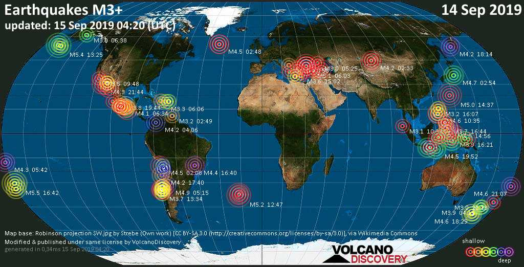 World map showing earthquakes above magnitude 3 during the past 24 hours on 15 Sep 2019