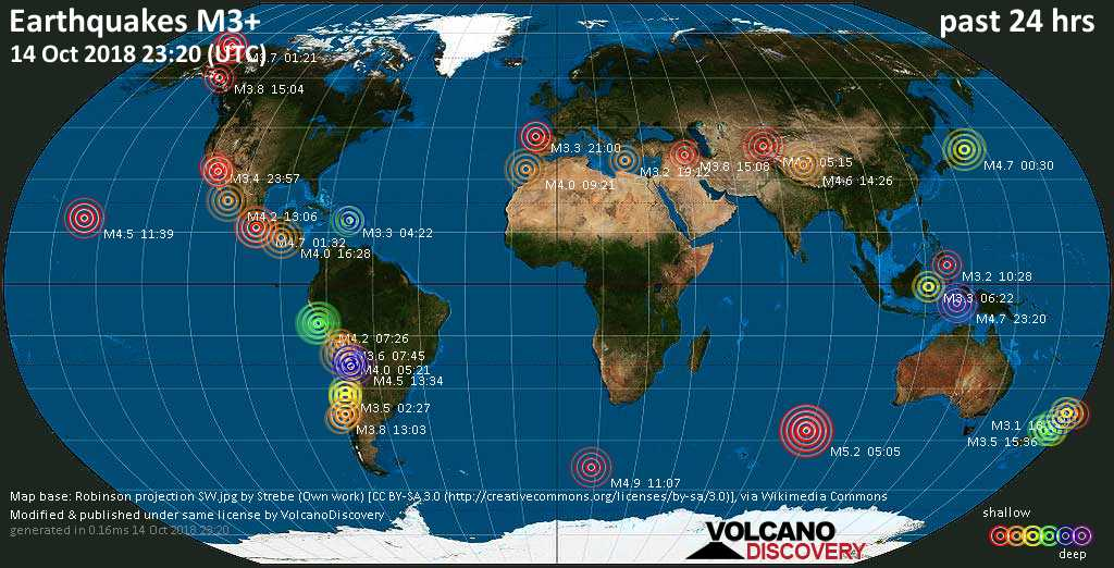 World map showing earthquakes above magnitude 3 during the past 24 hours on 14 Oct 2018