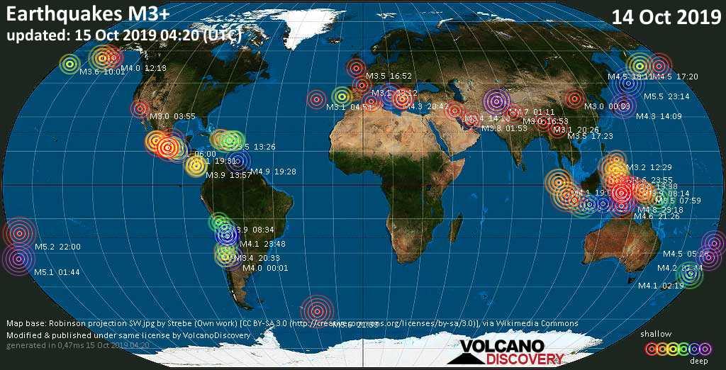 Mapa mundial que muestra terremotos de magnitud 3 en las últimas 24 horas 15 octubre 2019