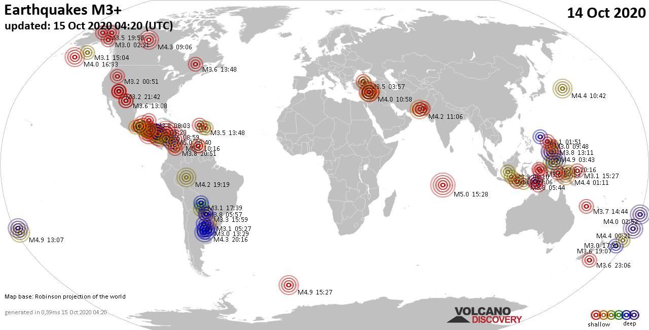 Mappa del mondo che mostra i terremoti sopra la magnitudo 3 nelle ultime 24 ore il 15 octubre 2020
