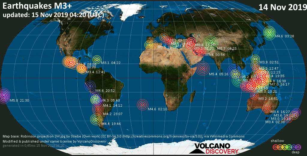 World map showing earthquakes above magnitude 3 during the past 24 hours on 15 Nov 2019