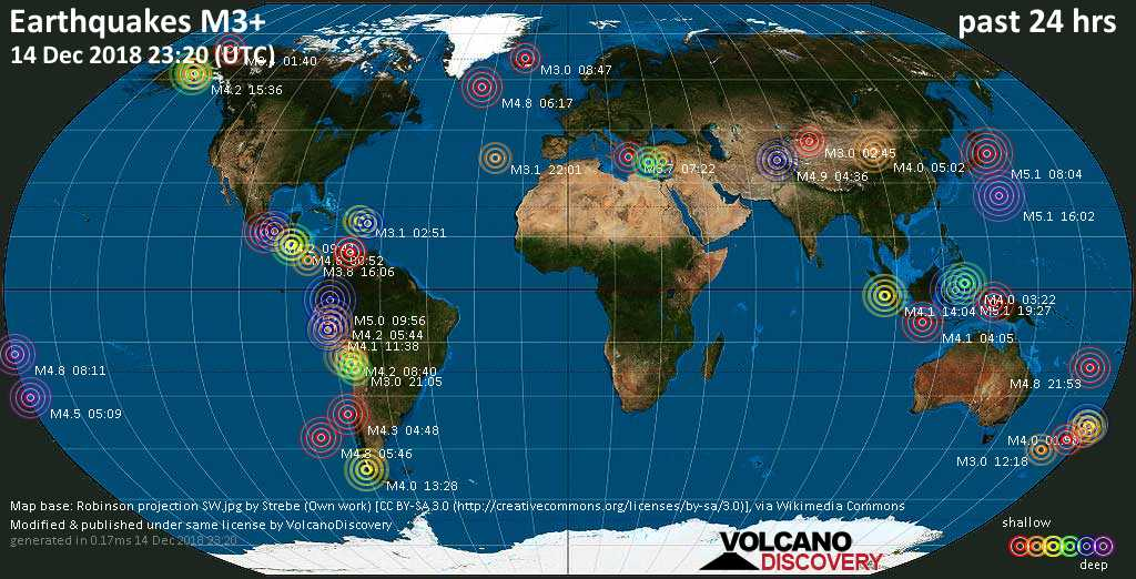 World map showing earthquakes above magnitude 3 during the past 24 hours on 14 Dec 2018