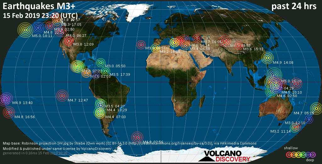 World map showing earthquakes above magnitude 3 during the past 24 hours on 15 Feb 2019