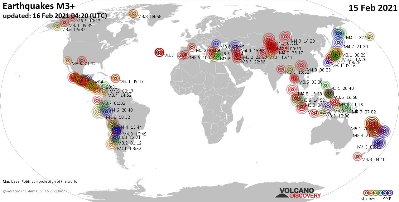 Worldwide earthquakes above magnitude 3 during the past 24 hours on 16 Feb 2021