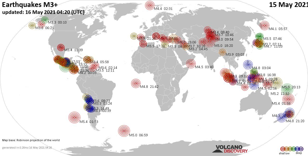 Worldwide earthquakes above magnitude 3 during the past 24 hours on 16 May 2021