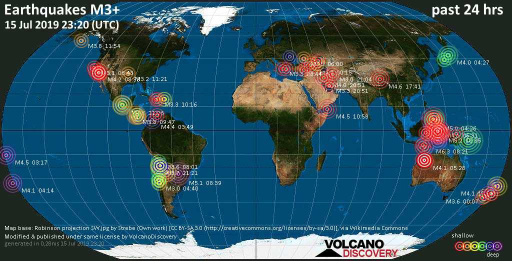 World map showing earthquakes above magnitude 3 during the past 24 hours on 15 Jul 2019