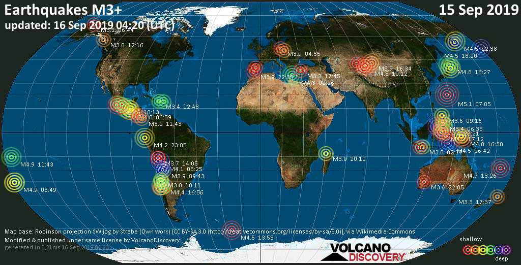 World map showing earthquakes above magnitude 3 during the past 24 hours on 16 Sep 2019