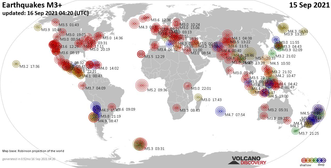 Worldwide earthquakes above magnitude 3 during the past 24 hours on 16 Sep 2021