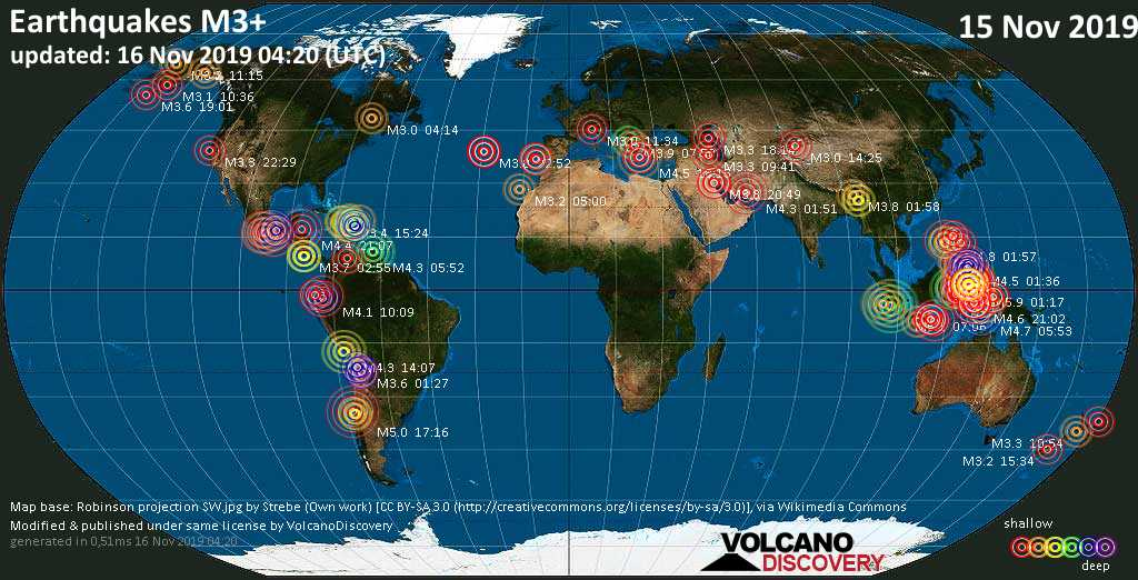 World map showing earthquakes above magnitude 3 during the past 24 hours on 16 Nov 2019