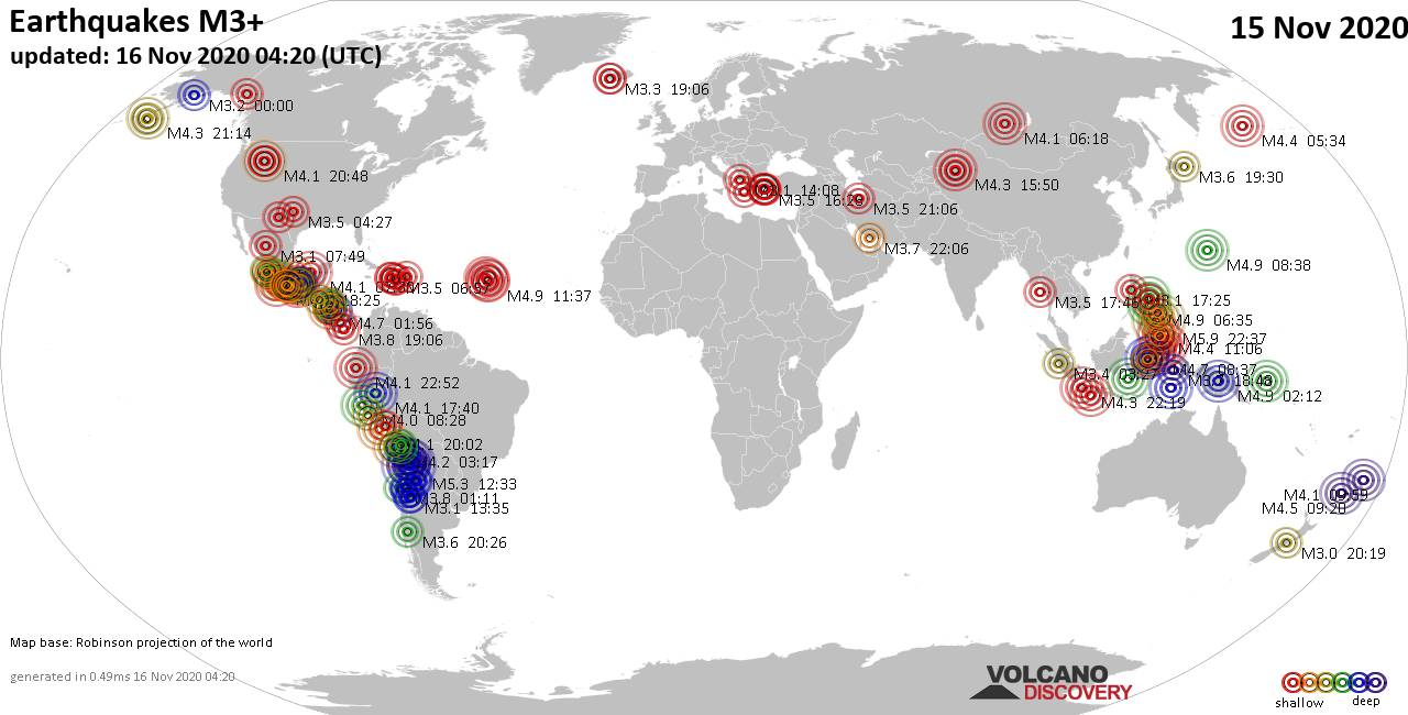 Worldwide earthquakes above magnitude 3 during the past 24 hours on 16 Nov 2020