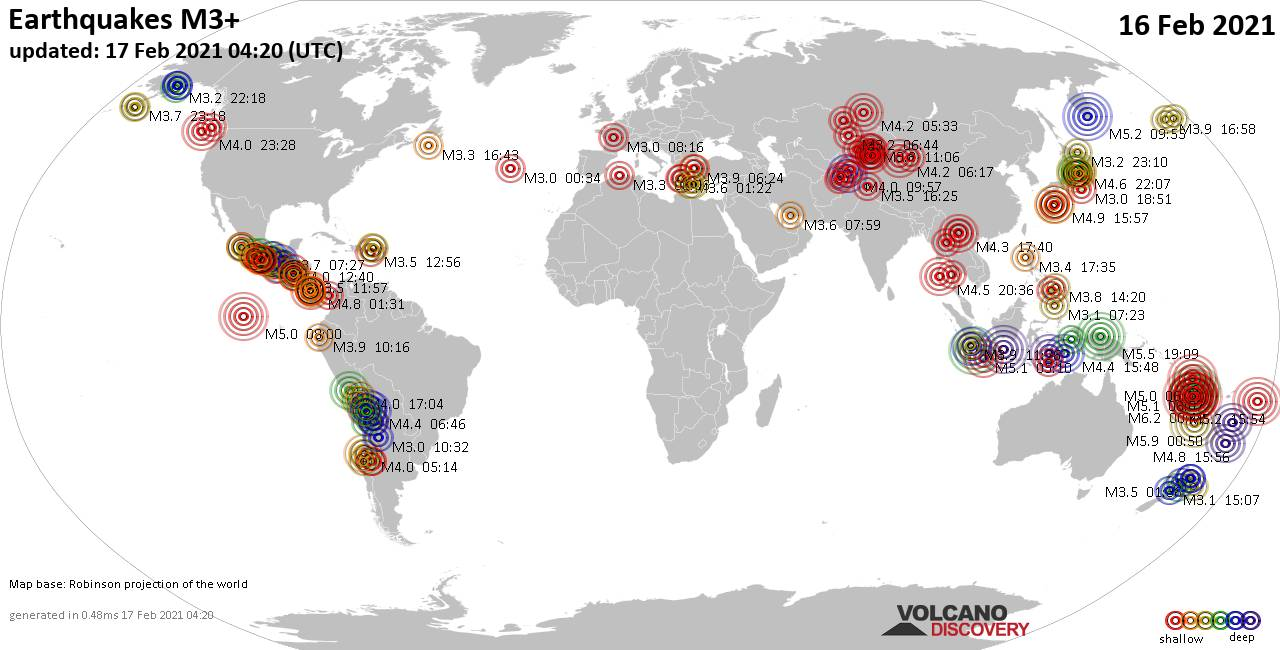 Worldwide earthquakes above magnitude 3 during the past 24 hours on 17 Feb 2021