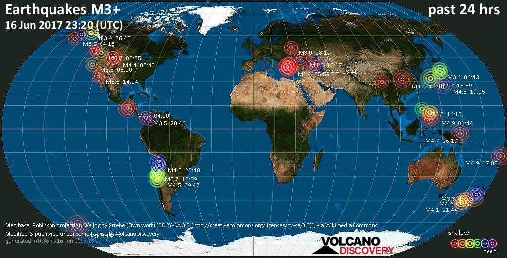 World map showing earthquakes above magnitude 3 during the past 24 hours on 16 Jun 2017